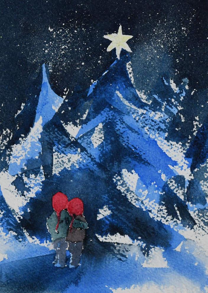1) Juletre i skogen (dobbelt kort)