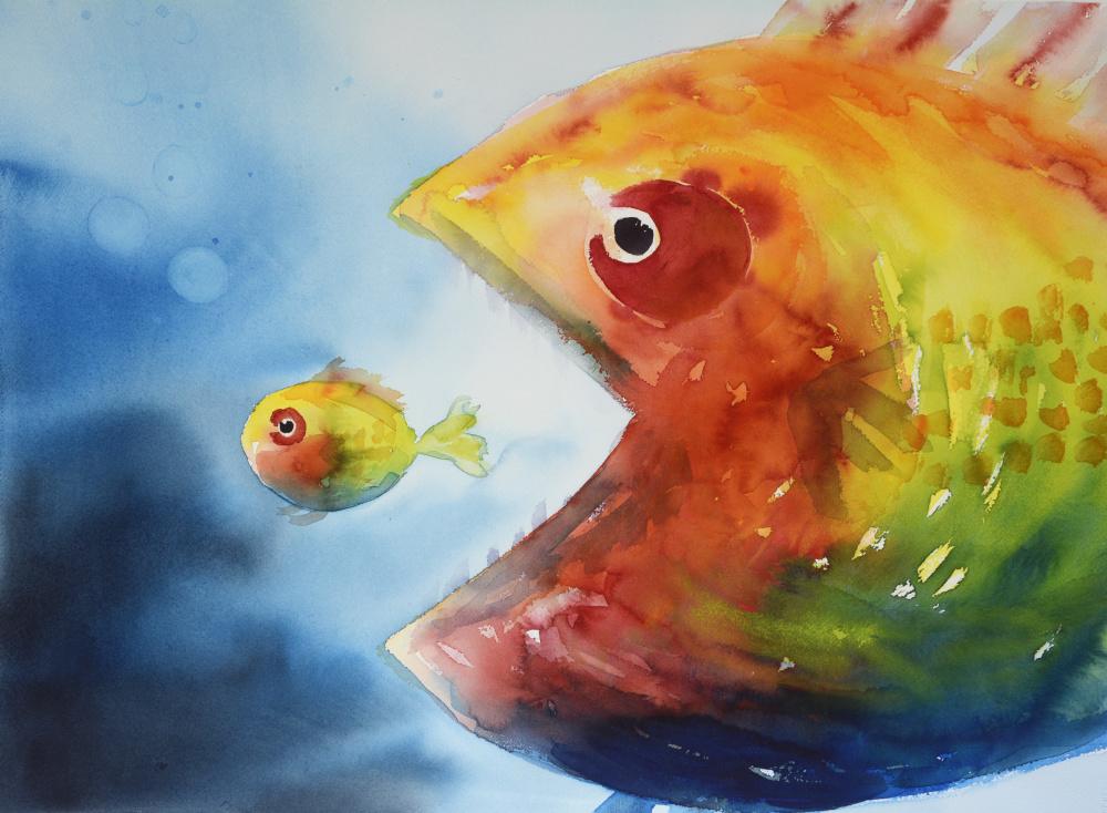 To fisker (54 x 72 cm)