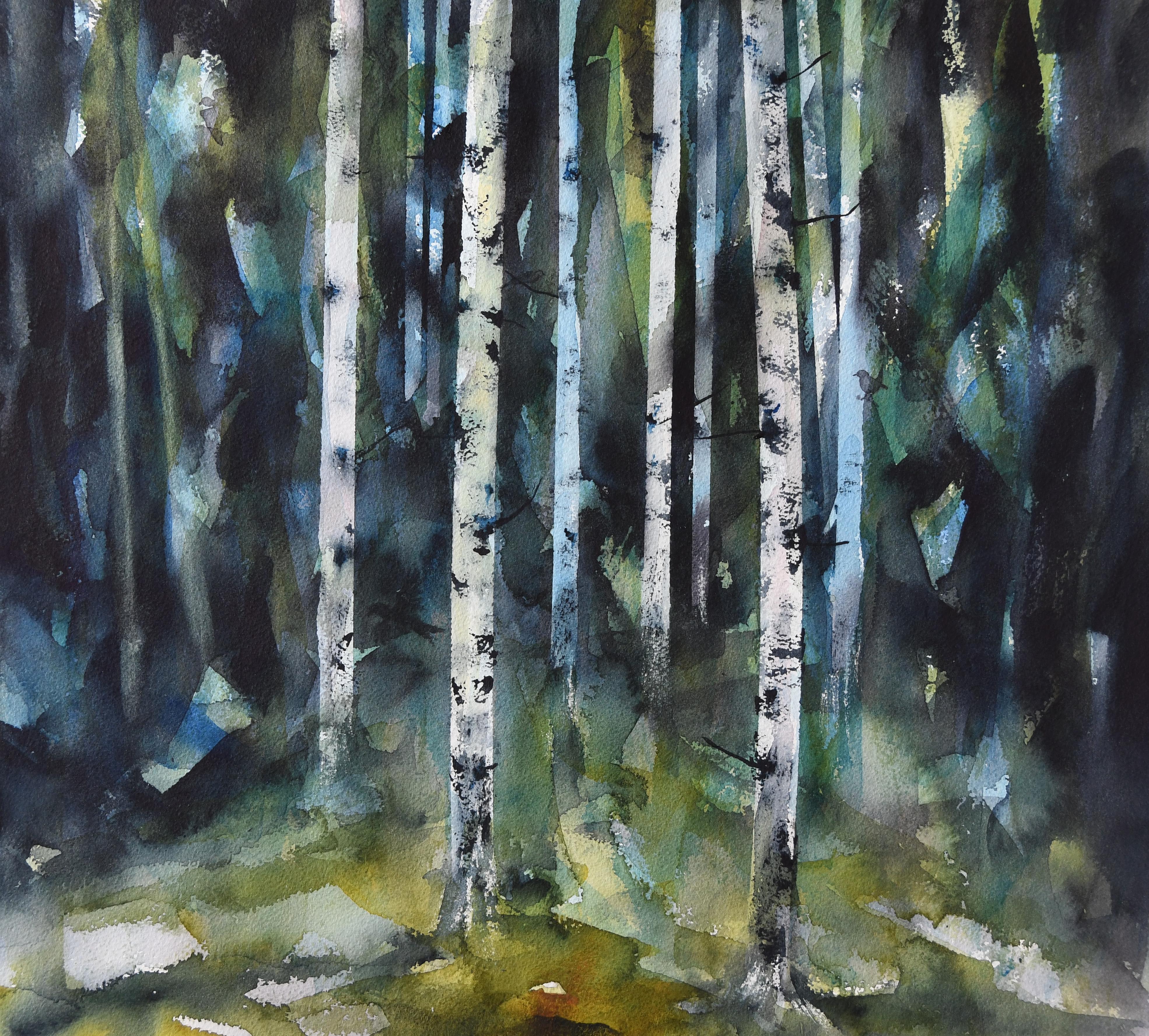 Fugler i skogen (54 x 51 cm)