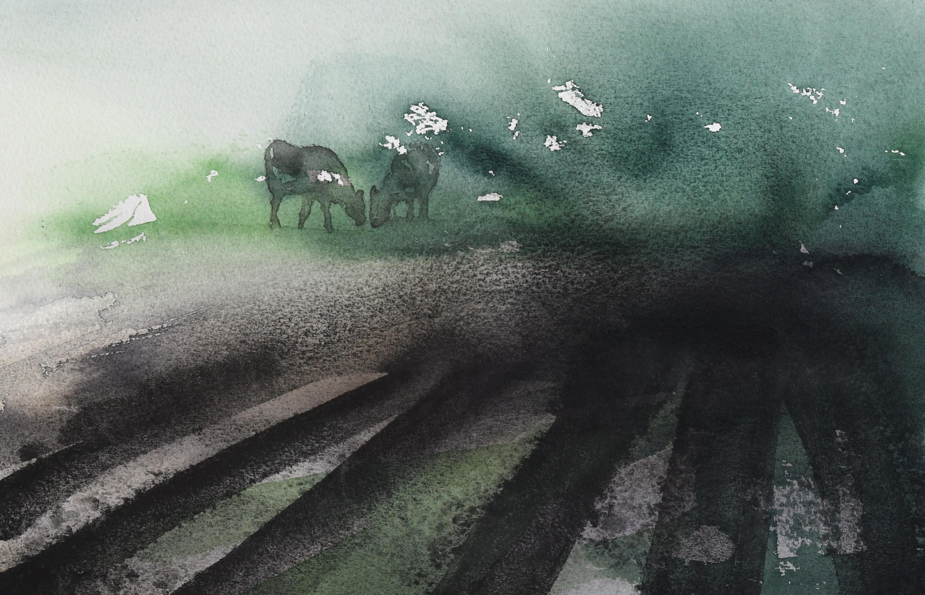 Ku på jorde (20 x 30 cm)