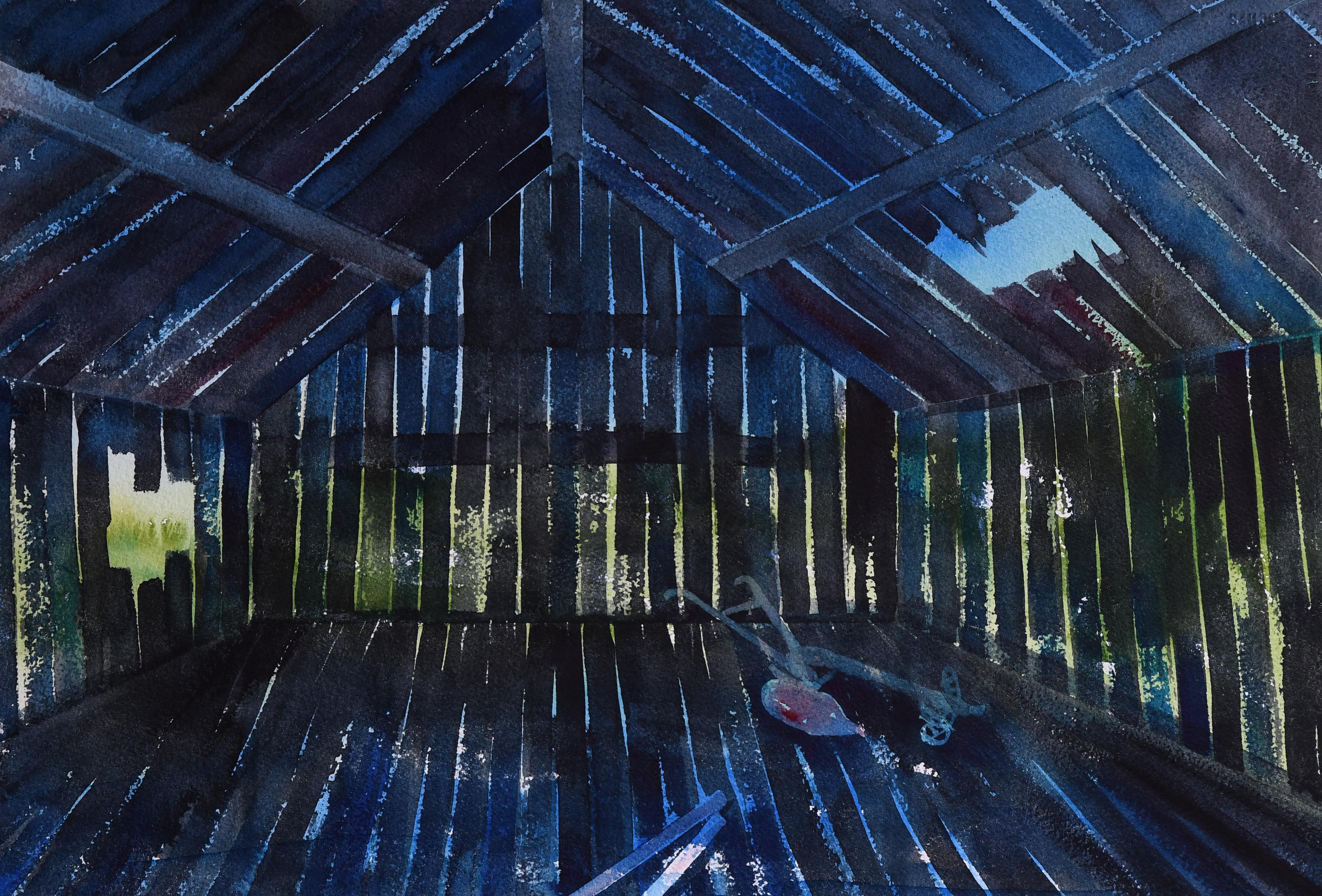 Interiør med plog  (37 x 54 cm)
