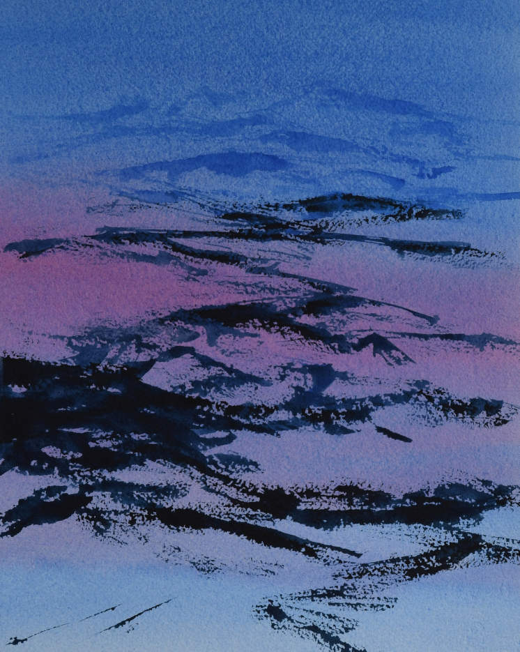 Alpint landskap (38 x 24 cm) 4000 kr