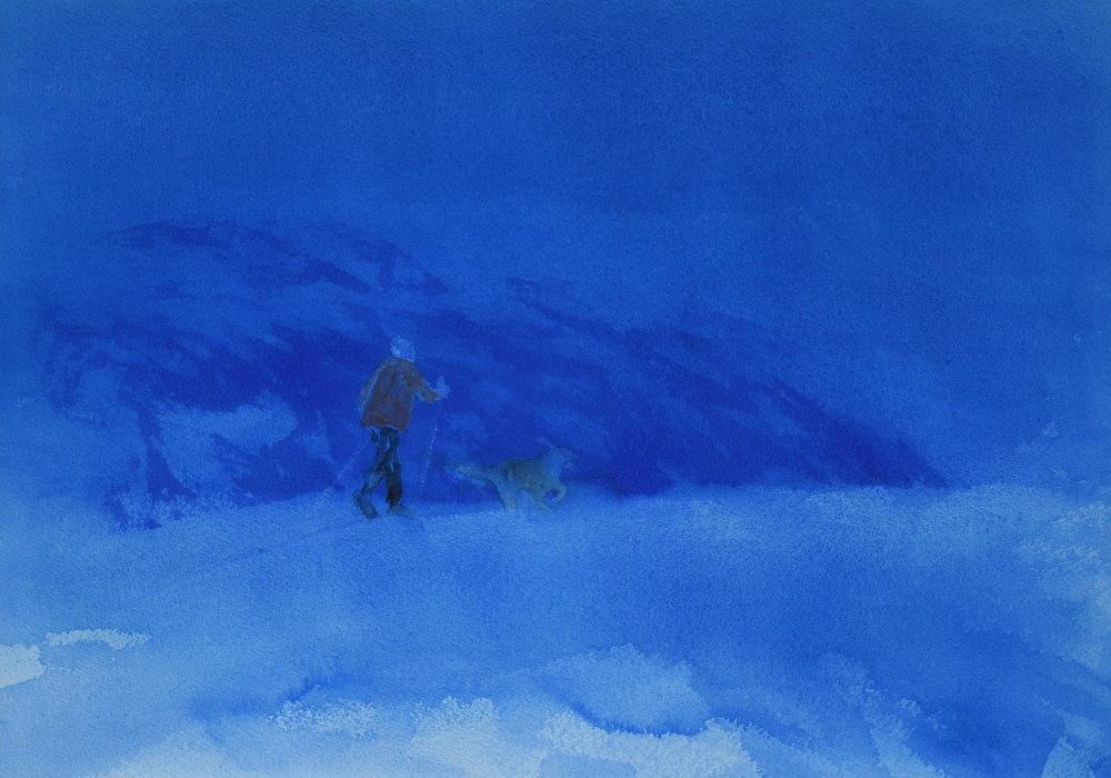 Skiløper med hund (39 x 54 cm) 7100 kr