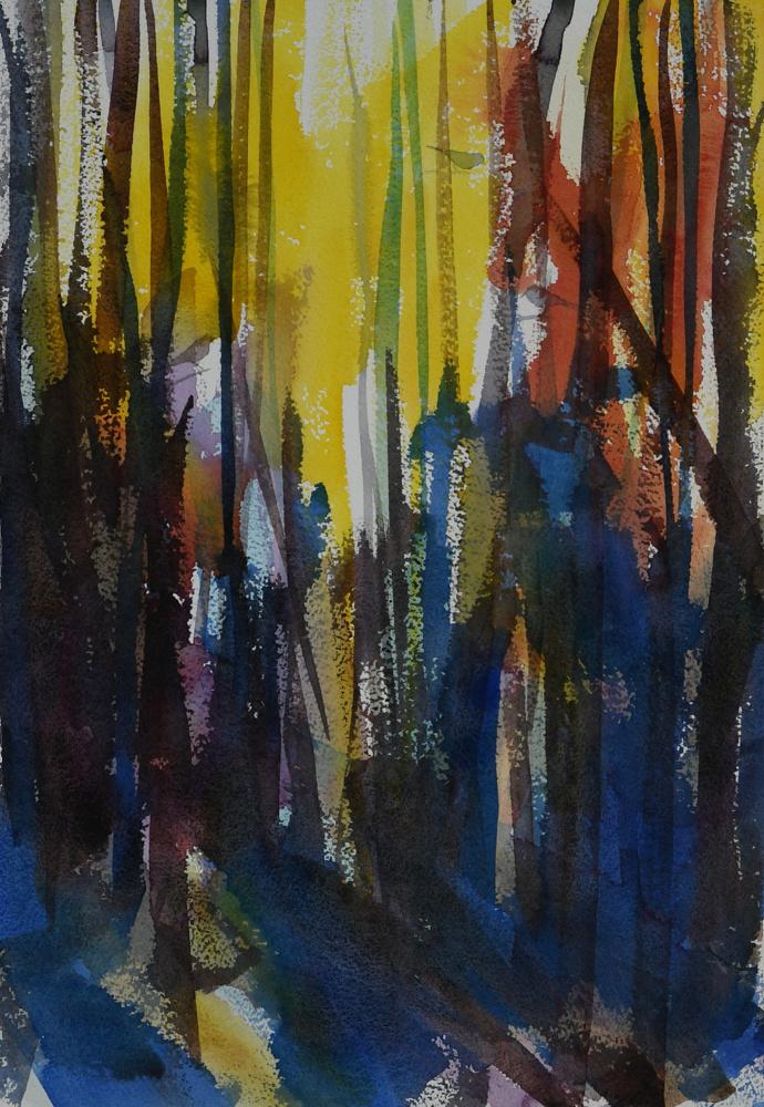 Fugler i skogen (42 x 30) 5000 kr