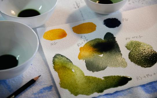 Vann, farge, papir og pensel